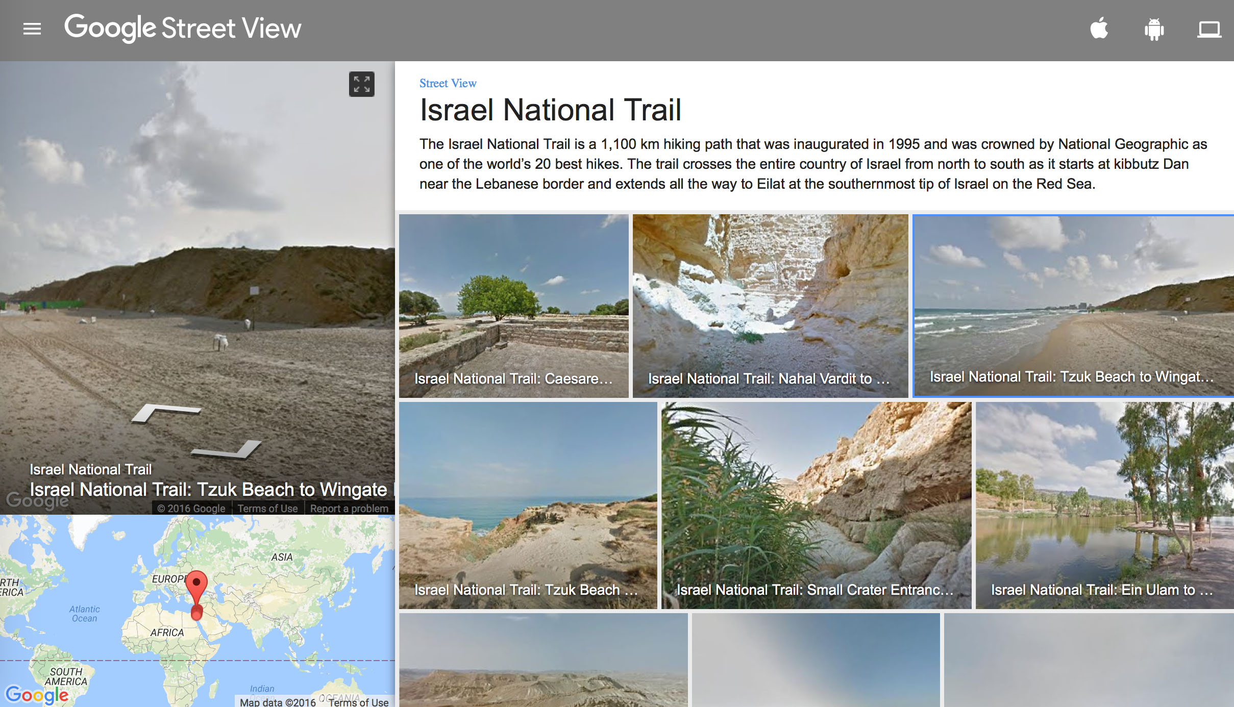 Der Israel National Trail auf Google Street View